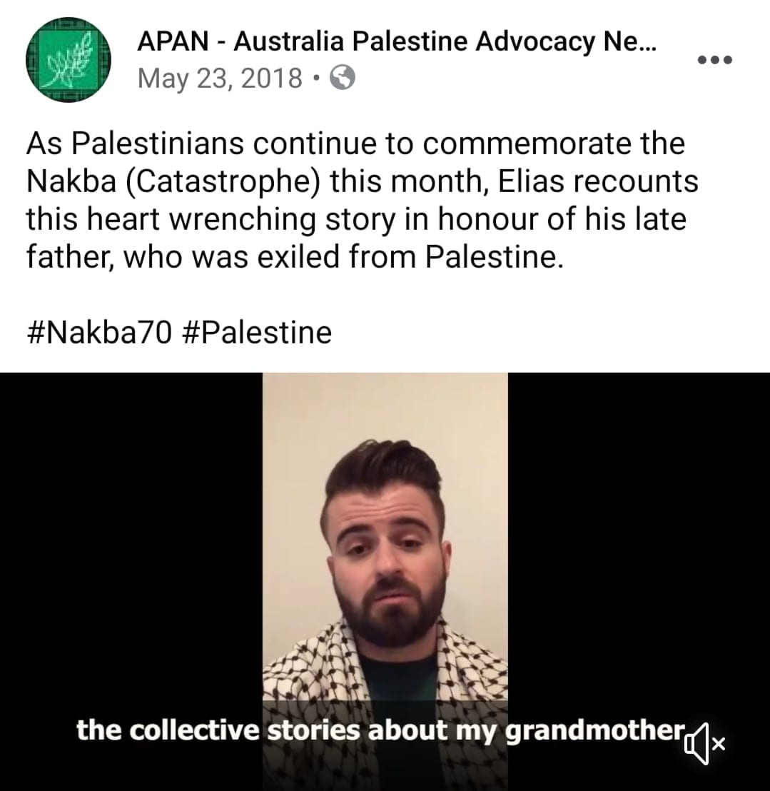 Screenshot of facebook video linked to in adjacent story - Elias and his family Nakba story