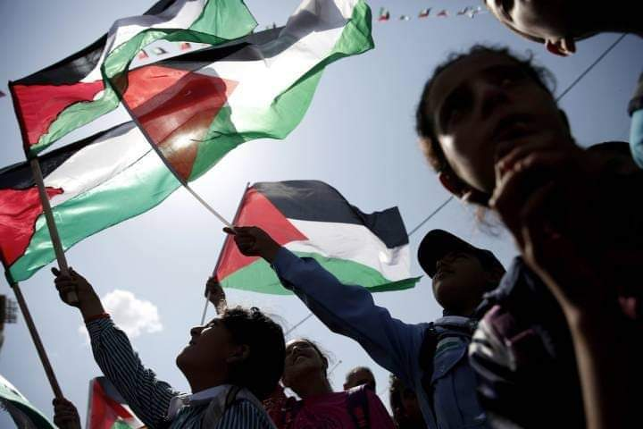 photo of Silloutes of people holding Palestinian flags