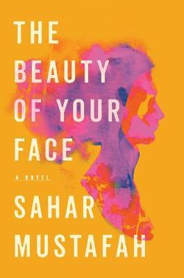 Cover of book: The beauty of your face. Orange cover with a pink and fragmented sillouite